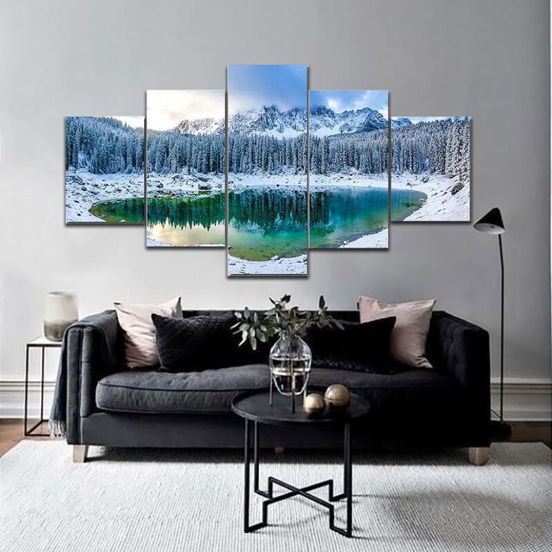 Karer Lake In Winter Multi Canvas Print Wall Art