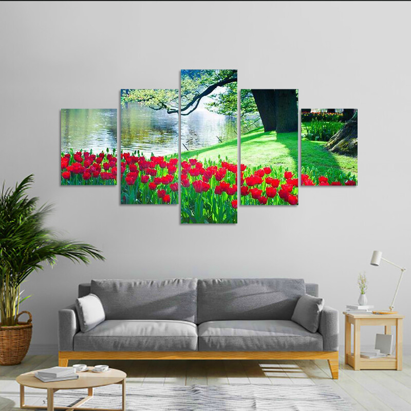 Garden Landscape Multi Canvas Print Wall Art