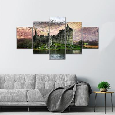 Kilchurn Castle In Winter Multi Canvas Print Wall Art