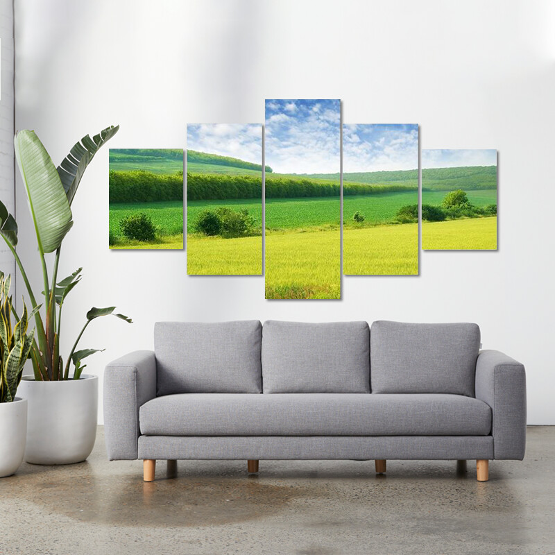 Green Spring Meadow Multi Canvas Print Wall Art