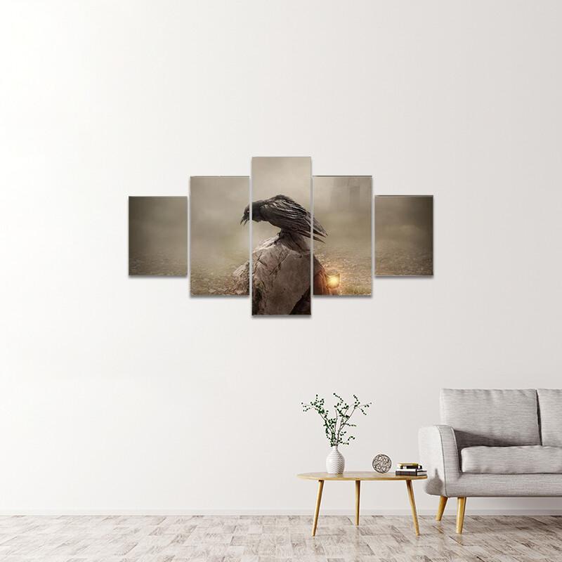 Crow Sitting On Gravestone Multi Canvas Print Wall Art