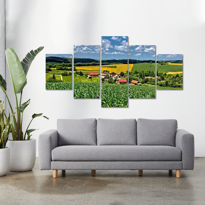 Green Village In Spring Time Multi Canvas Print Wall Art