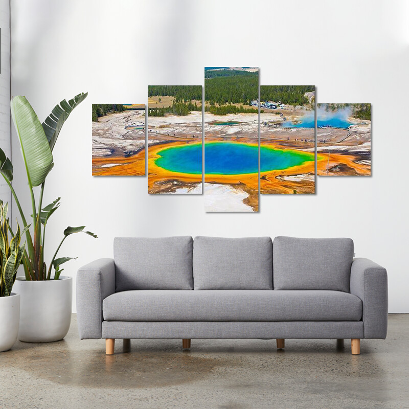 Grand Prismatic Spring Multi Canvas Print Wall Art