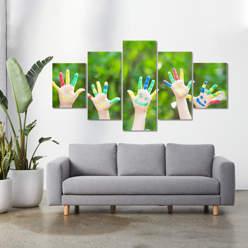 Group Of Smiley Hands Multi Canvas Print Wall Art