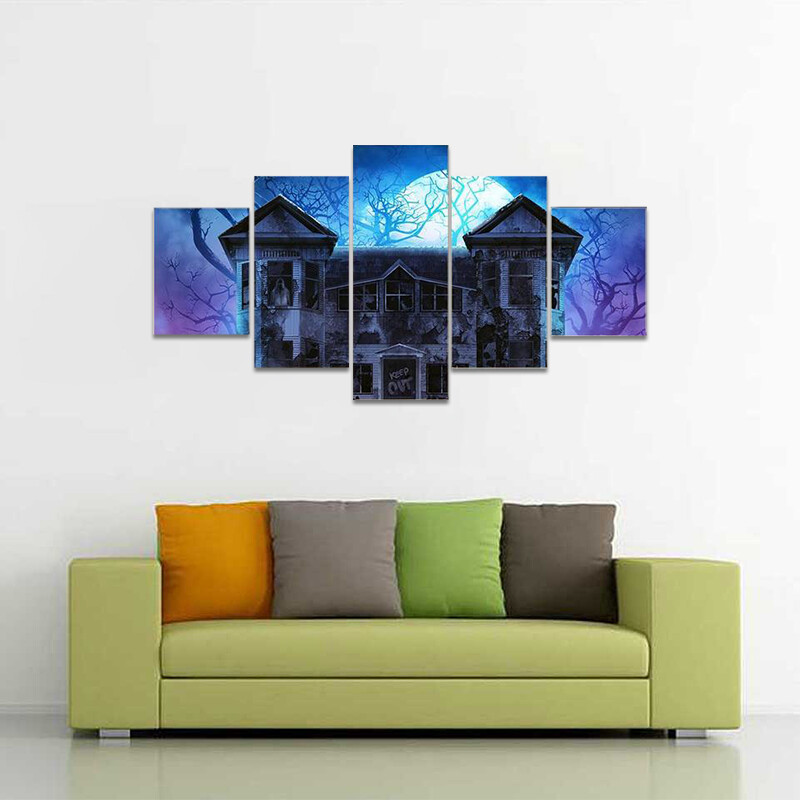 Evil Haunted House Multi Canvas Print Wall Art
