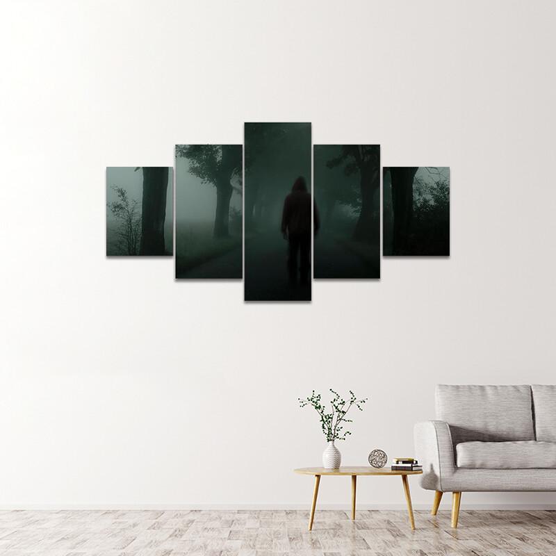 Foggy Road And A Man Multi Canvas Print Wall Art