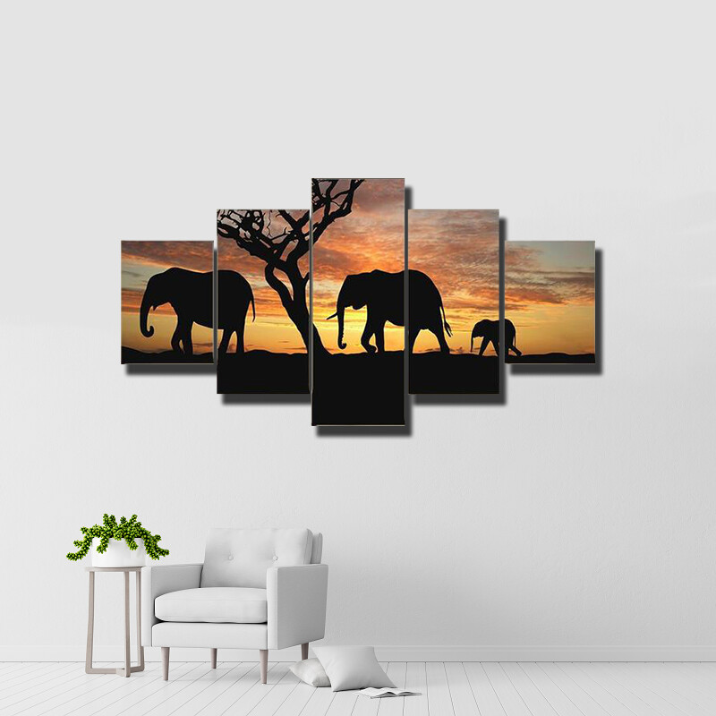 Group Of Elephant In Africa Multi Canvas Print Wall Art