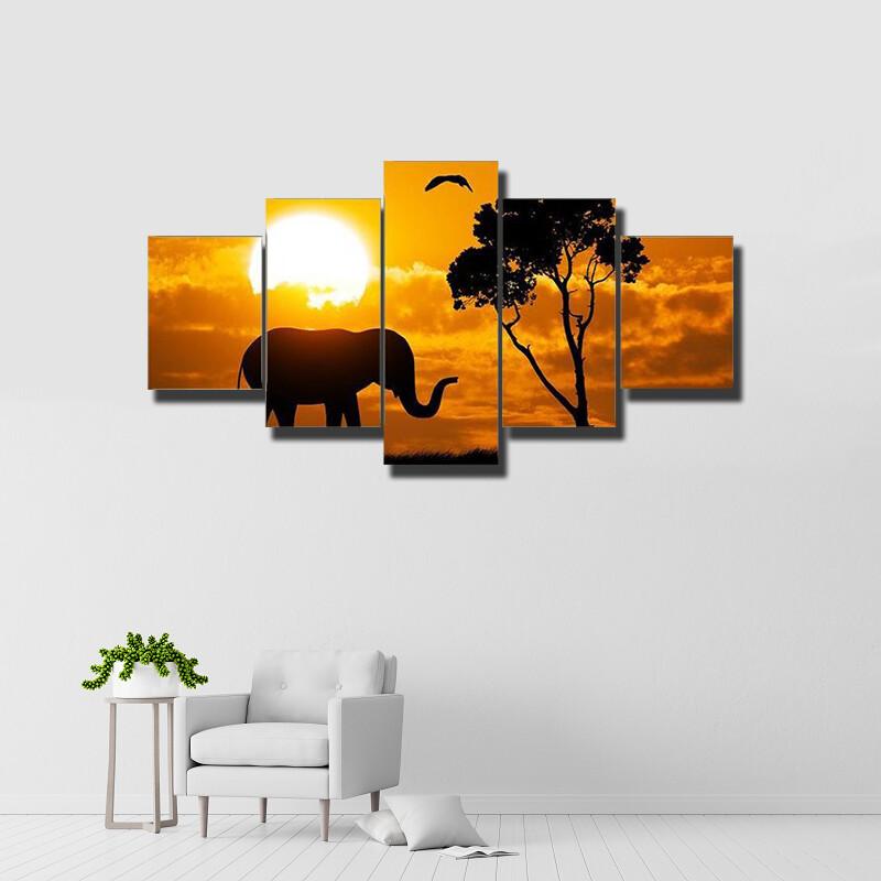 Silhouette Of Elephant Multi Canvas Print Wall Art