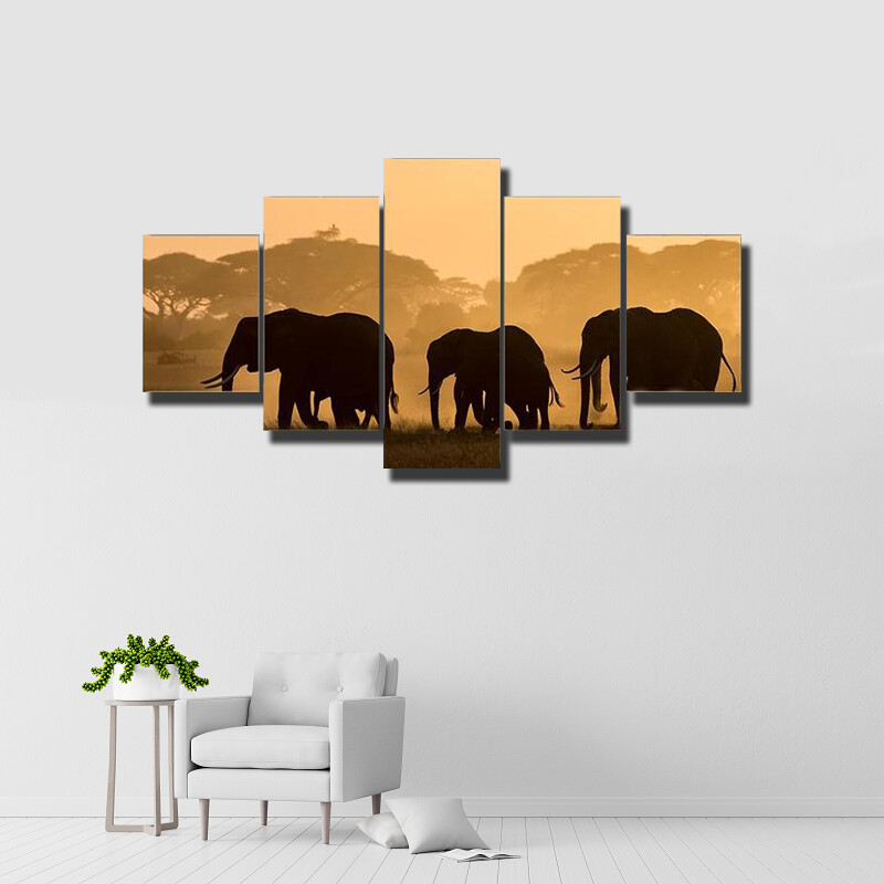 Silhouettes Of Elephants Multi Canvas Print Wall Art