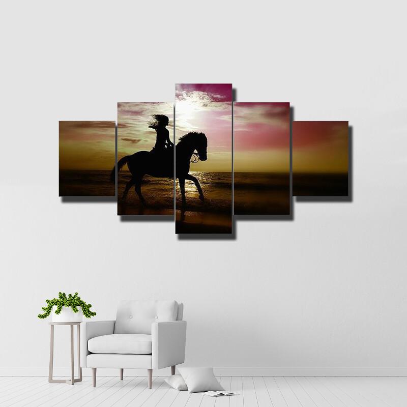 Girl Riding A Horse Multi Canvas Print Wall Art