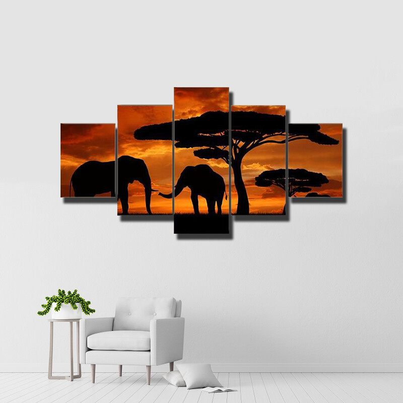 Silhouette Of Two Elephants In The Sunset Multi Canvas Print Wall Art