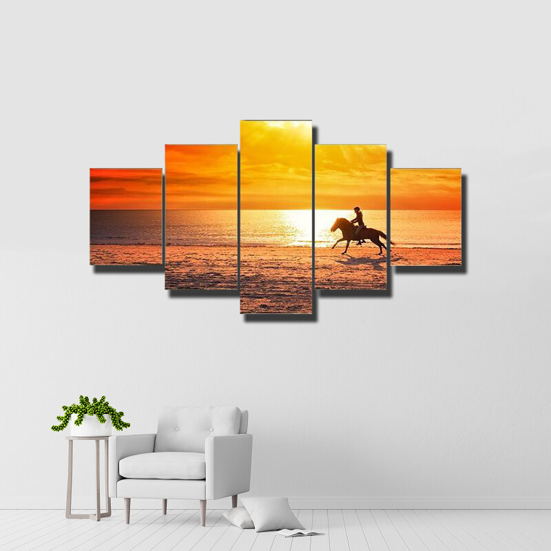 Horse Riding Multi Canvas Print Wall Art