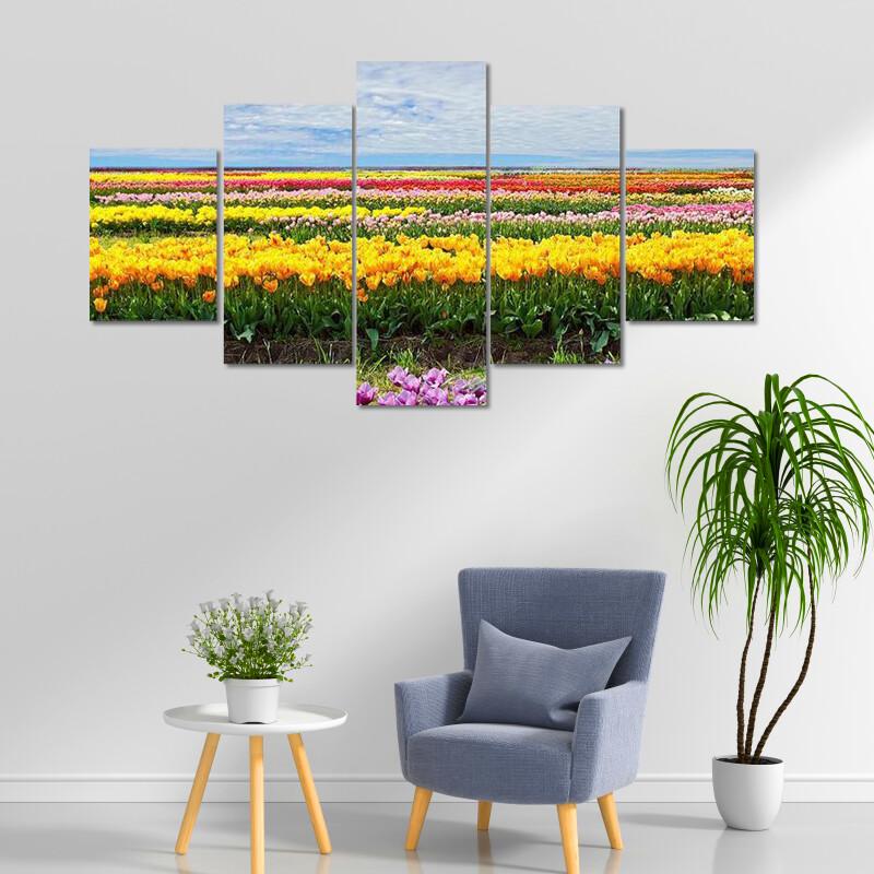 Horizontal Row Of Tulips Multi Canvas Print Wall Art