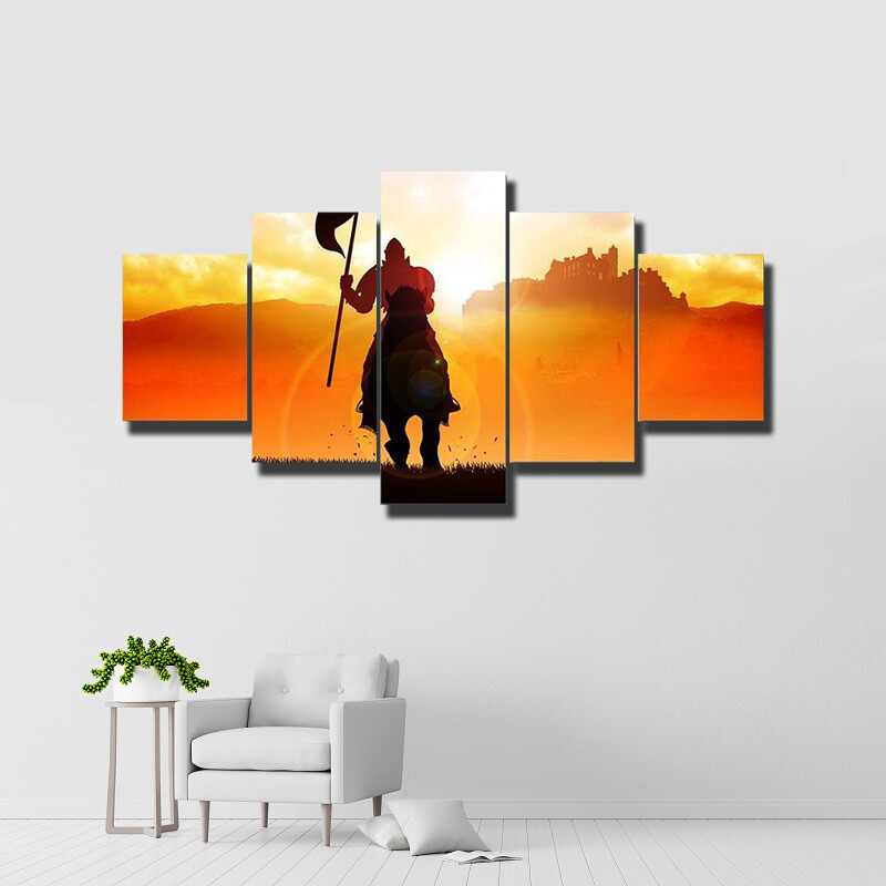 Medieval Knight On Horse Multi Canvas Print Wall Art