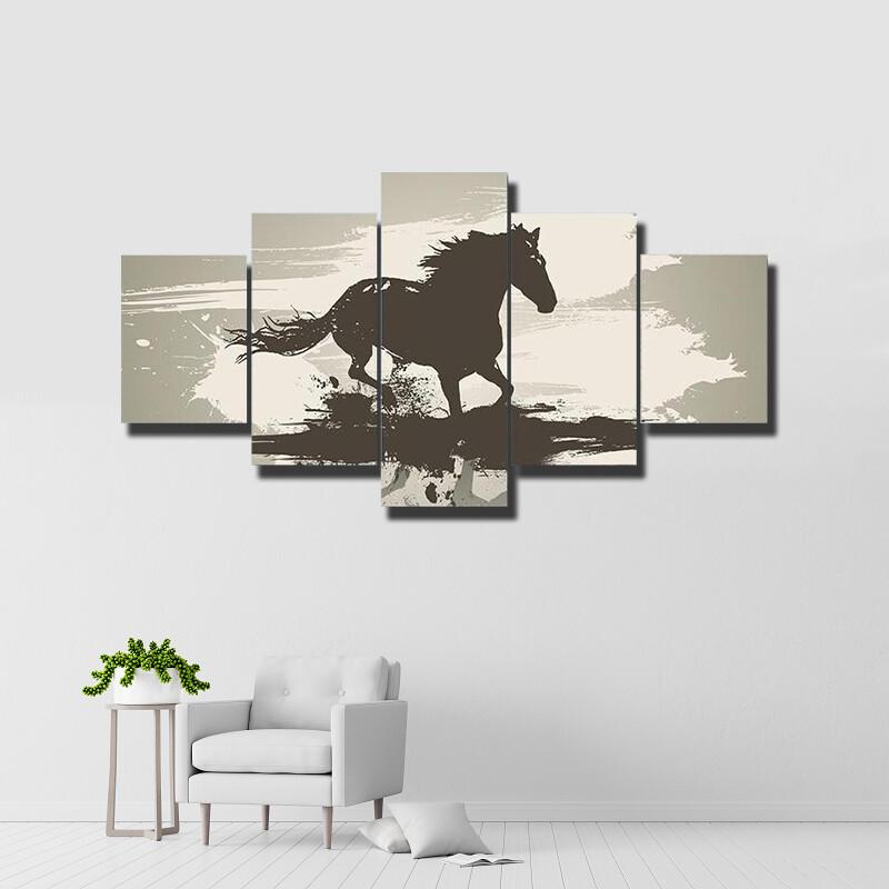 Horse Illustration Multi Canvas Print Wall Art