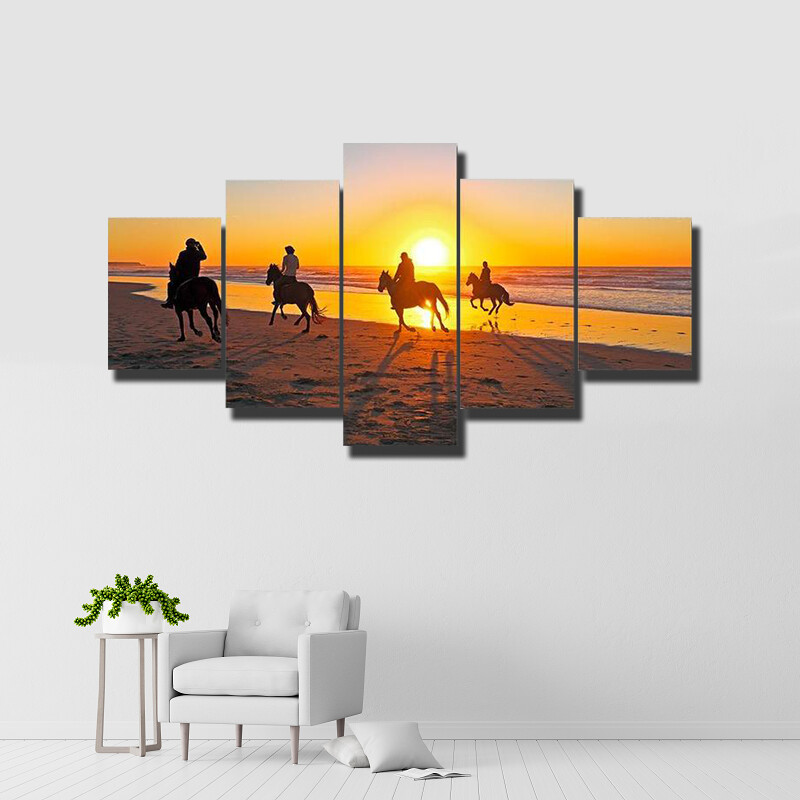 Horse Riding At Sunset Multi Canvas Print Wall Art