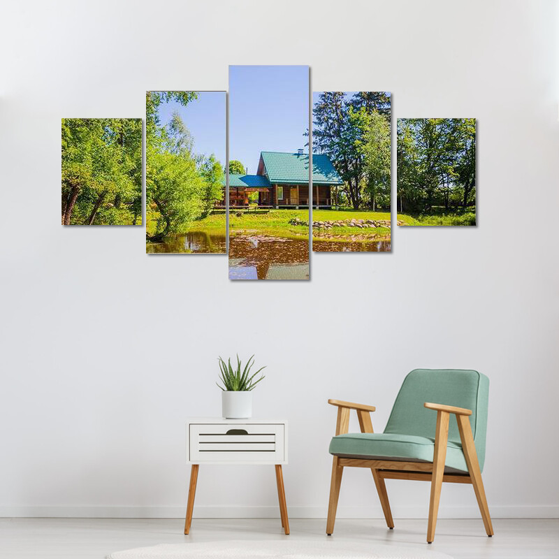 House In Countryside Near Lake Multi Canvas Print Wall Art