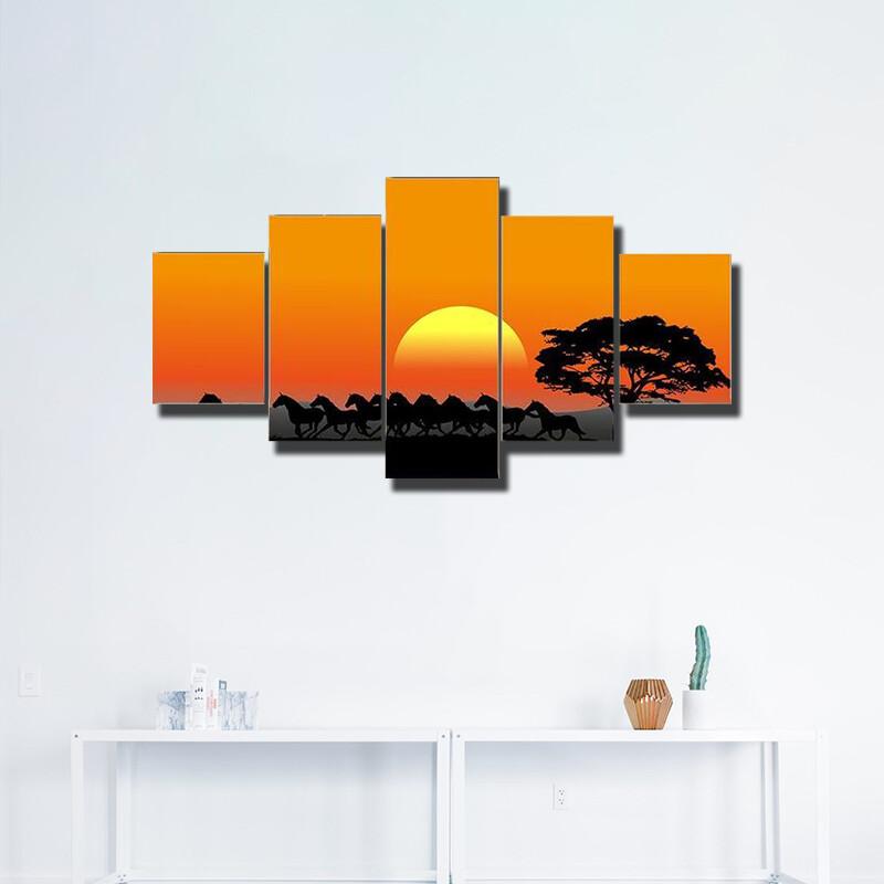 Running Herd At Sunset Multi Canvas Print Wall Art