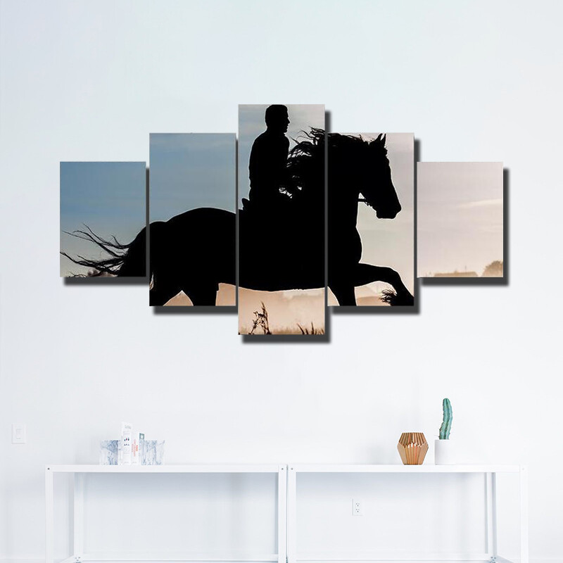 Rider Horse In Sunset Multi Canvas Print Wall Art
