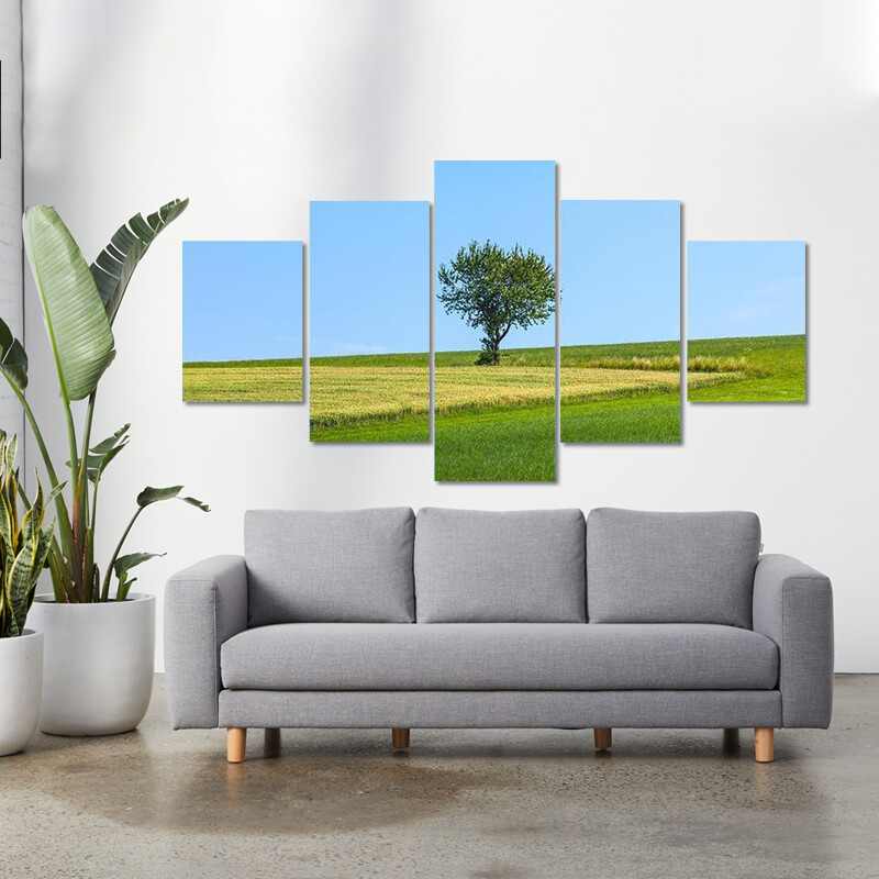 Lonely Tree At Meadow Multi Canvas Print Wall Art