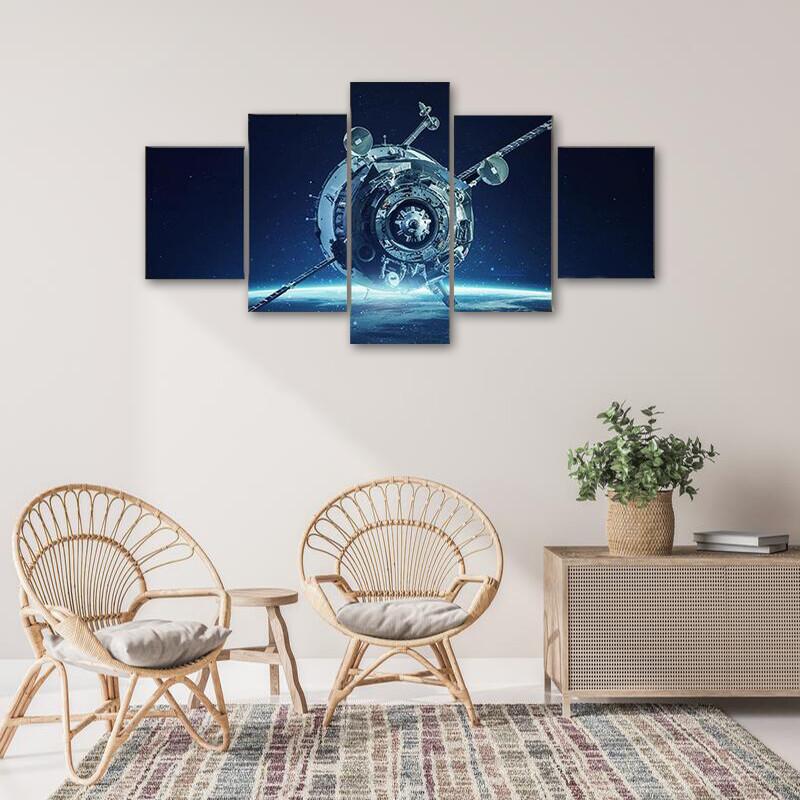Alien Spaceship In Deep Space Multi Canvas Print Wall Art
