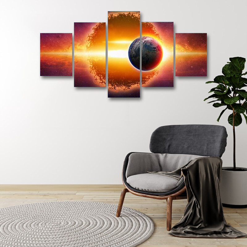 Aliens Planet Approaching Planet Earth Multi Canvas Print Wall Art
