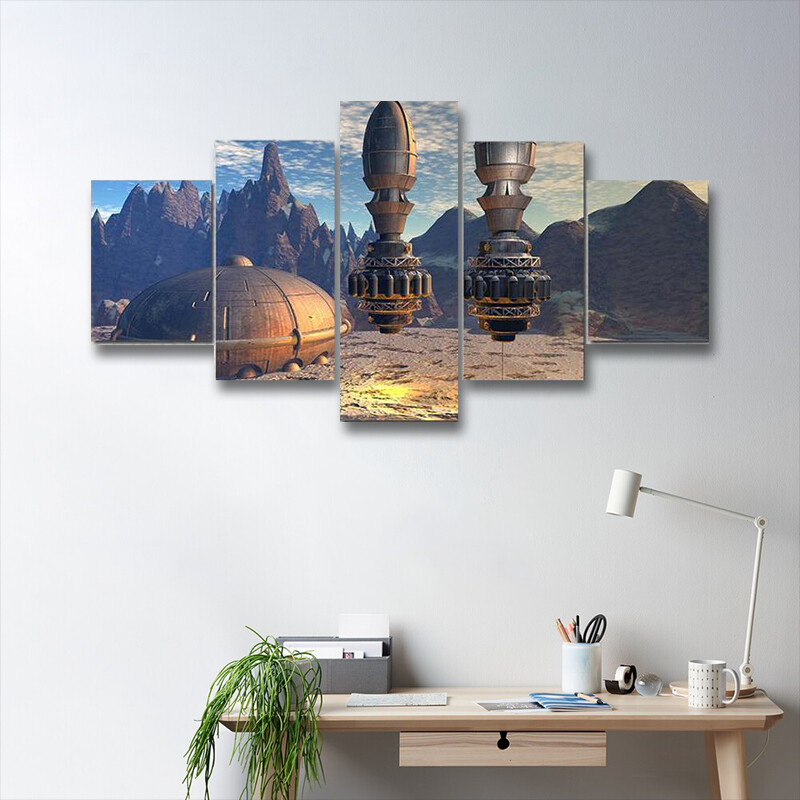 Alien Spaceship On Deep Planet Multi Canvas Print Wall Art