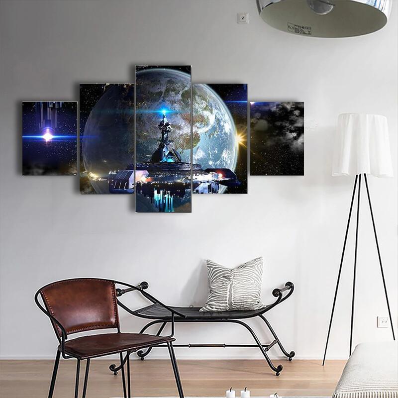 Alien Spaceship Moving Near Earth Multi Canvas Print Wall Art