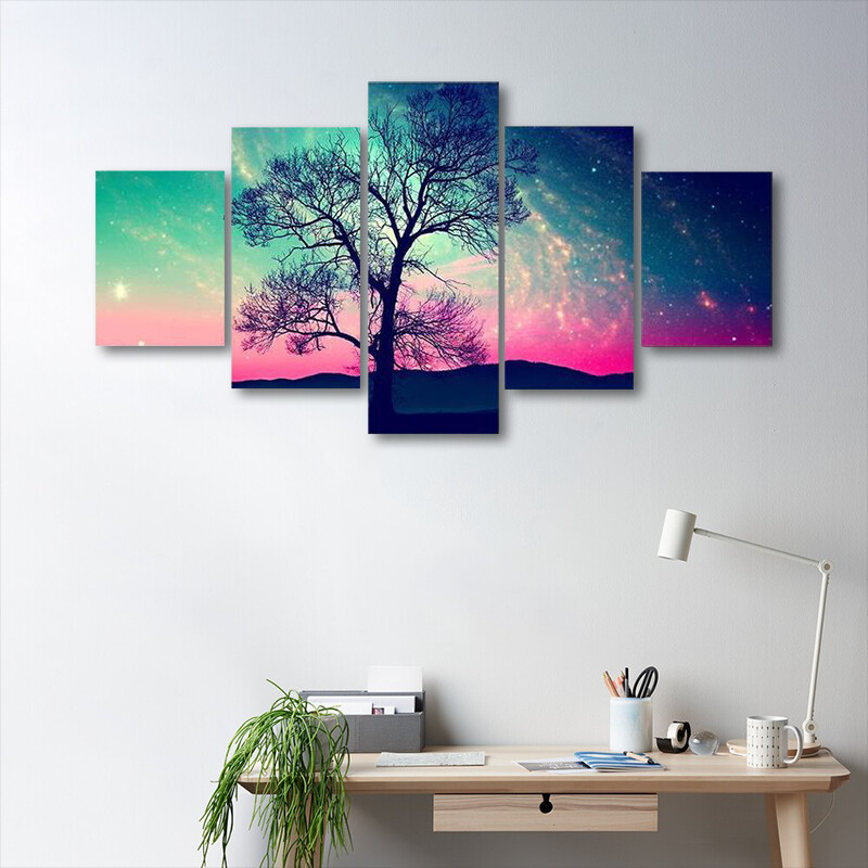 Andromeda Galaxy Over Earth Multi Canvas Print Wall Art