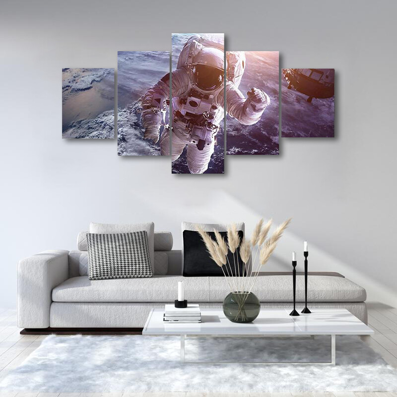 Astronaut Above The Earth Multi Canvas Print Wall Art