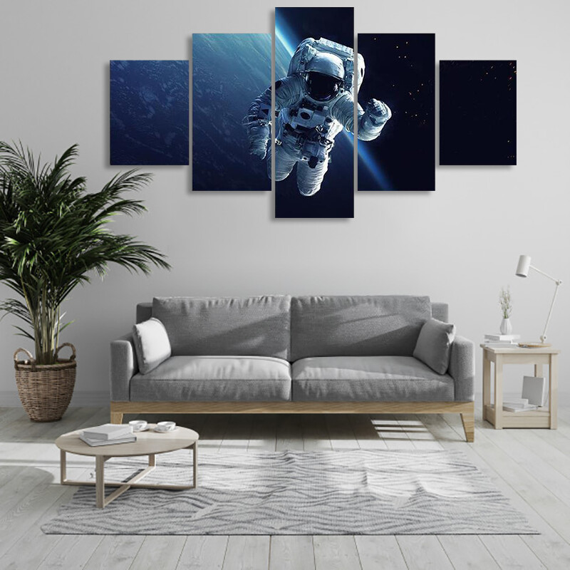 Astronaut In Space Multi Canvas Print Wall Art