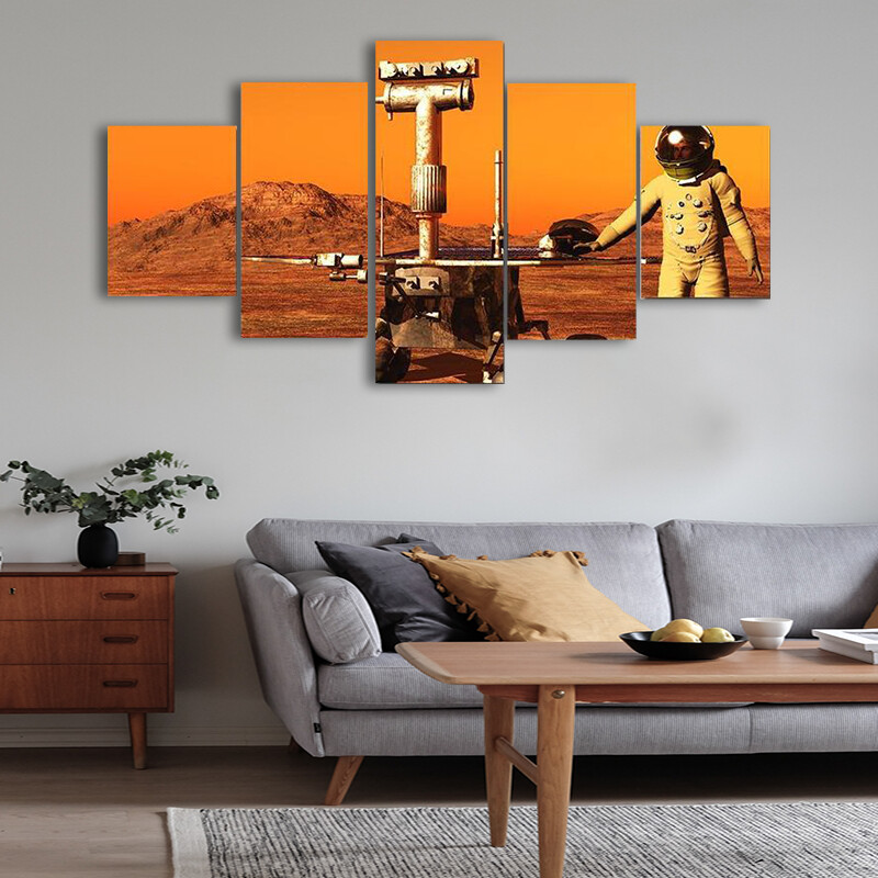 Astronaut And Mars Rover Multi Canvas Print Wall Art