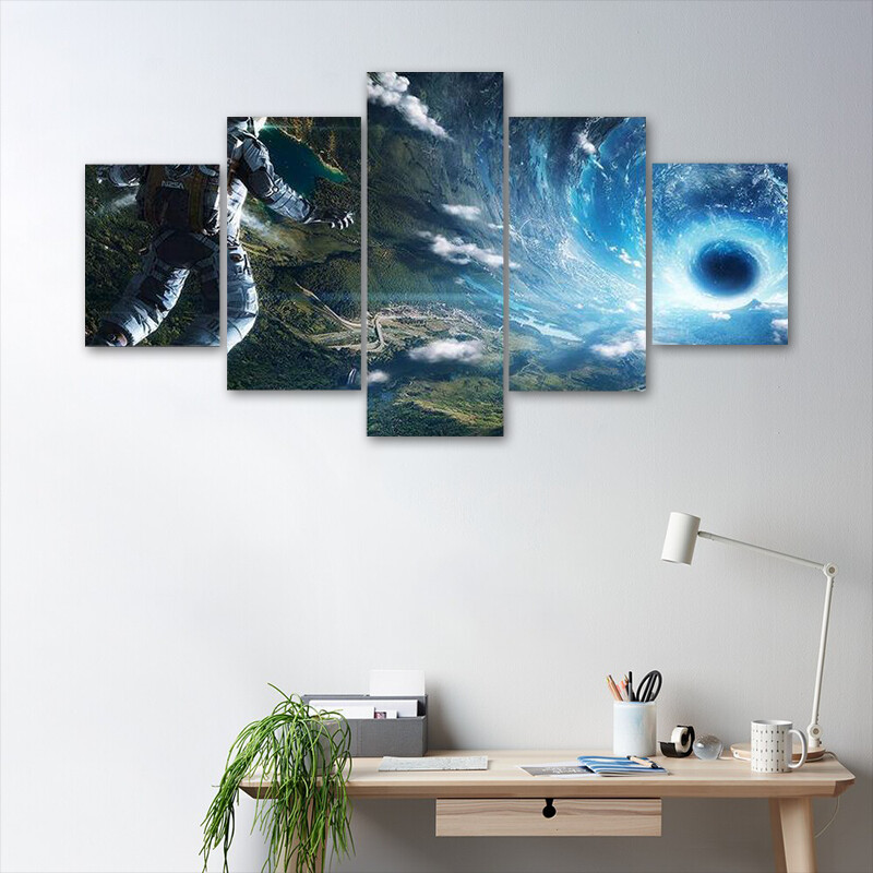 Astronaut In Artificial World Multi Canvas Print Wall Art