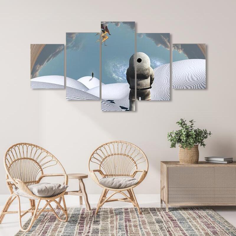 Astronaut In White Desert Multi Canvas Print Wall Art
