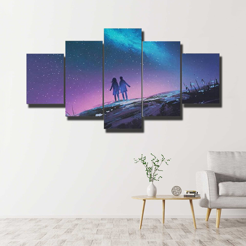 Couple Standing Against The Milky Way Multi Canvas Print Wall Art