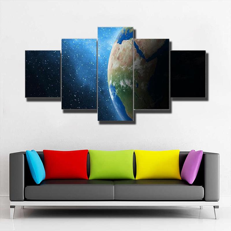 Earth And Milky Way Galaxy Multi Canvas Print Wall Art