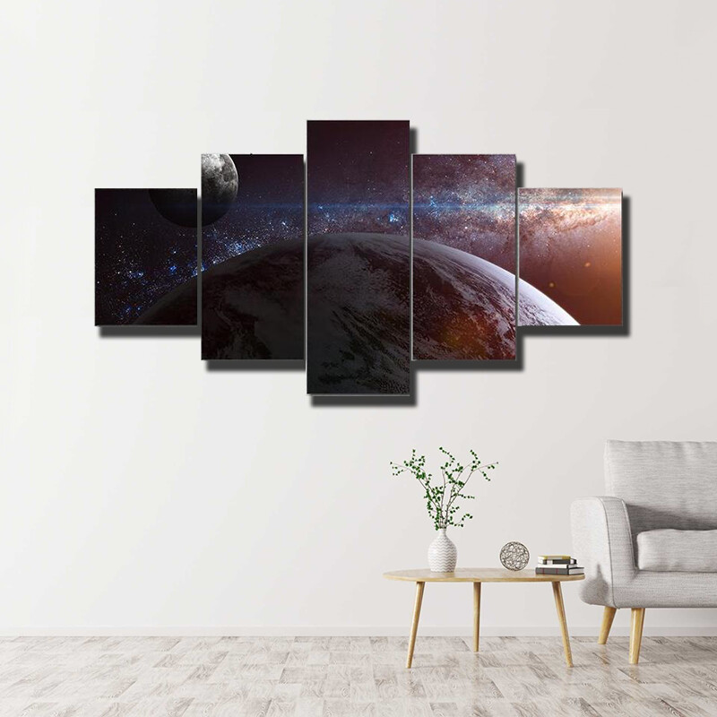 Earth Moon And Milky Way Multi Canvas Print Wall Art
