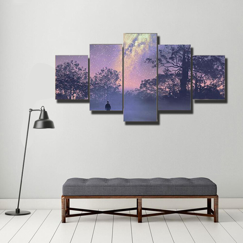 Man Standing Against Milky Way Multi Canvas Print Wall Art