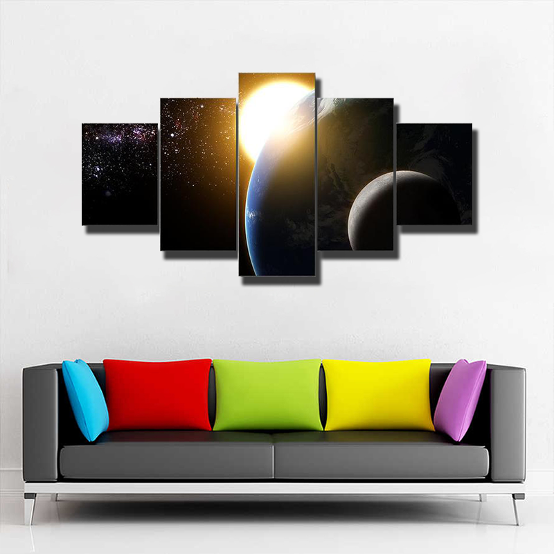 Earth Sun Moon And Milky Way Multi Canvas Print Wall Art