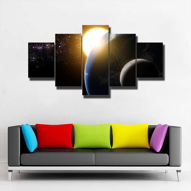 Earth Sun Moon And Milky Way Multi Canvas Print Wall Art