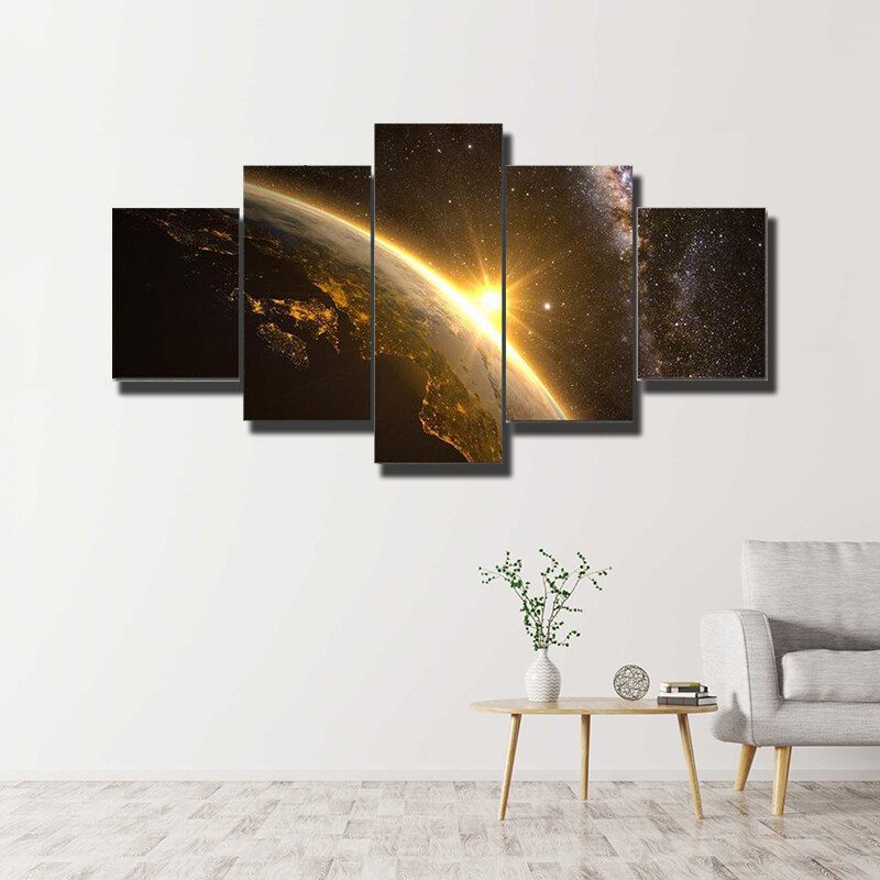 Earth, Sun And Milky Way Multi Canvas Print Wall Art