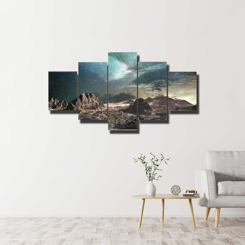 Milky Way At Dawn On A Mountain Multi Canvas Print Wall Art
