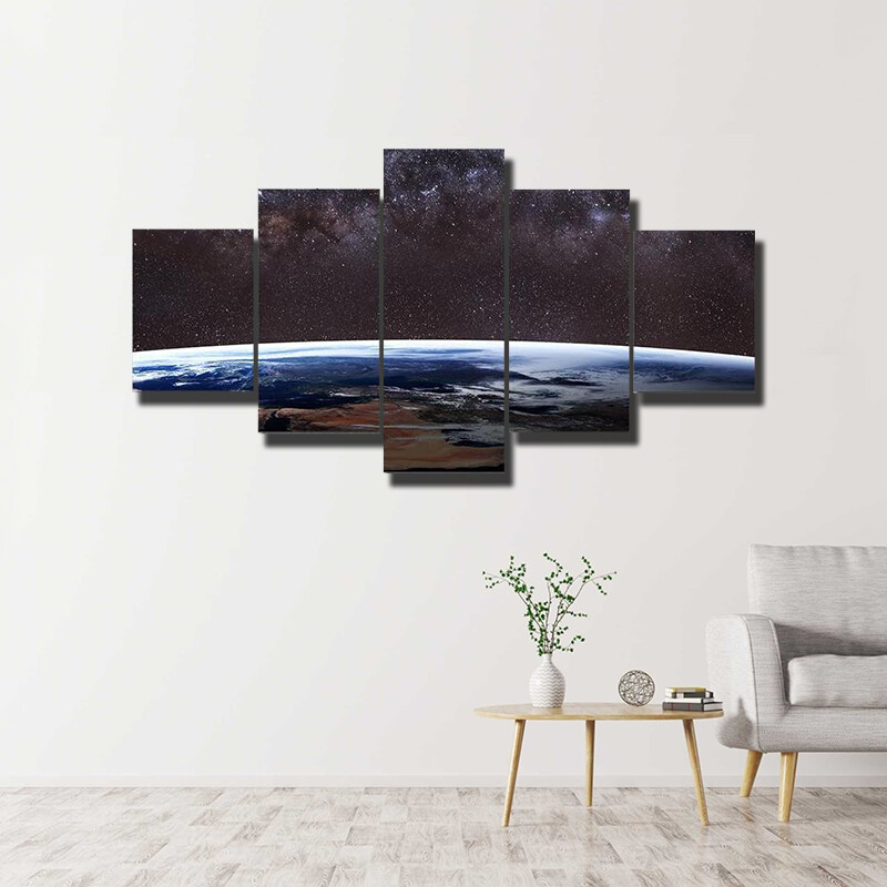Planet Earth And Milky Way Multi Canvas Print Wall Art