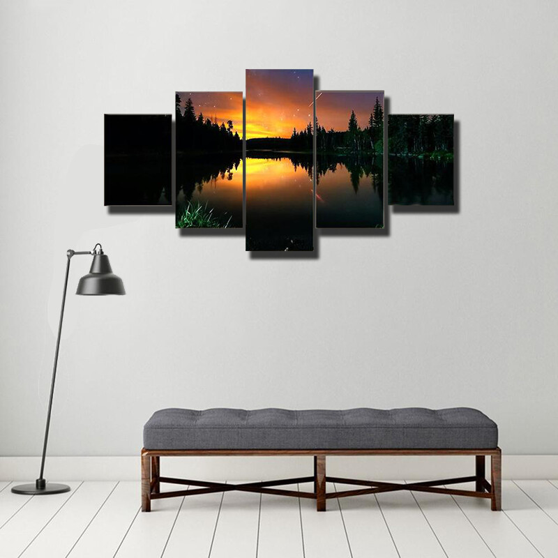 Starry Sky And The Milky Way Multi Canvas Print Wall Art