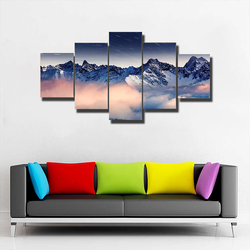 The Milky Way Over Winter Mountain Multi Canvas Print Wall Art