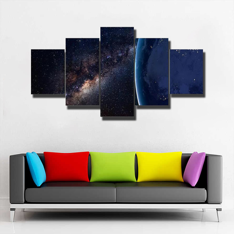 Planet Earth And Milky Way At Night Multi Canvas Print Wall Art