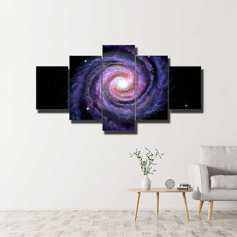 Spiral Galaxy Illustration Of Milky Way Multi Canvas Print Wall Art