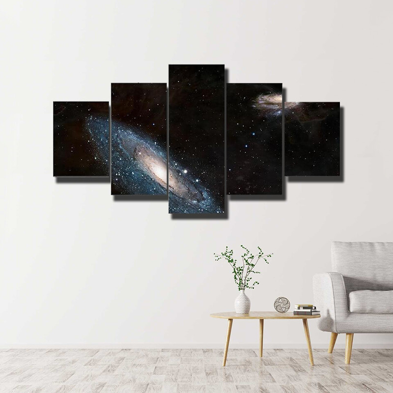 Moving Andromeda Towards Milky Way Multi Canvas Print Wall Art