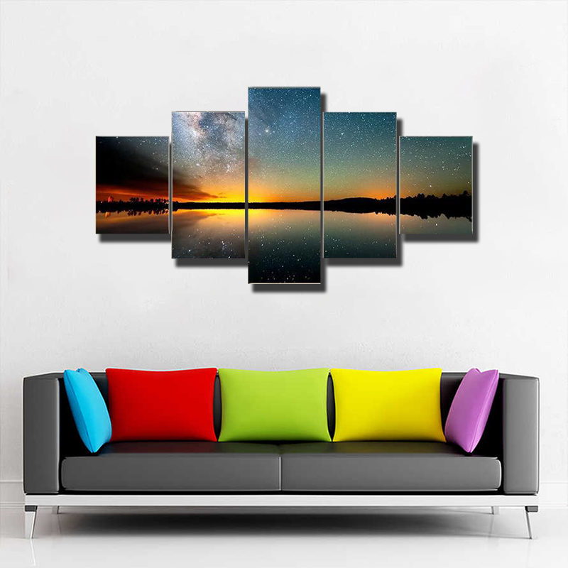 Starry Sky And Milky Way Multi Canvas Print Wall Art