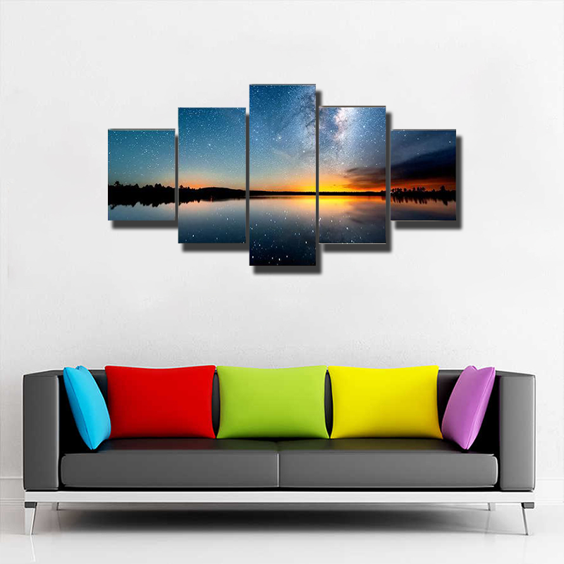 The Starry Sky And Milky Way Multi Canvas Print Wall Art